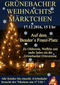Grünebacher Weihnachtsmärktchen am 17.12.2016